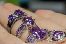 Free Silver Ring With Purple Zircon Royalty Free Stock Photography - 110687317