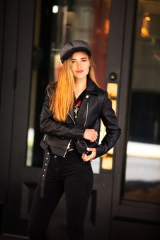 Free Woman Wearing Jacket And Jeans Stock Image - 110720941