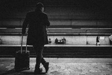 Free Man With Luggage Bag On Train Station Stock Photo - 110721010