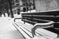 Free Monochrome Photography Of Bench Covered With Snow Royalty Free Stock Photos - 110796298
