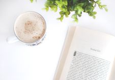 Free Flatlay Photography Of Book And Cup Stock Photo - 110796310