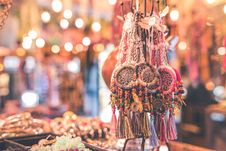 Free Person Showing Assorted Dream Catcher Keychain Lot In Tilt Shift Photography Royalty Free Stock Image - 110796416