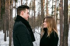 Free Man And Woman Wearing Black Coats Standing Near Snow-covered Trees Royalty Free Stock Photo - 110796465