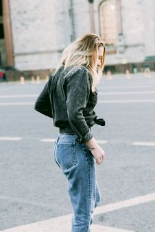 Free Photo Of Woman Wearing Black Denim Jacket And Blue Jeans Royalty Free Stock Image - 110891096