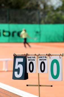 Free 5 Sets Won 0 Sets Won 0 0 Scoring Board Stock Photo - 110984010
