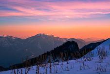 Free Mountain Ranges During Orange Sunset Royalty Free Stock Photography - 110984037