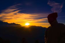 Free Silhouette Of Person Near Mountain During Golden Hour Stock Photos - 110984043