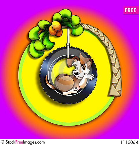 Free Puppy In A Tire Swing Stock Images - 1113064
