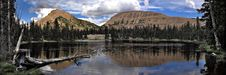 Mountain Reflection And Alpine Lake Panoramic Royalty Free Stock Image