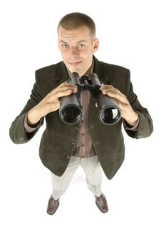 Free Businessman With Binoculars Royalty Free Stock Photography - 1110587