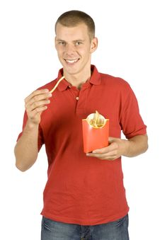 Free Man Eats French Fries Royalty Free Stock Photo - 1110695
