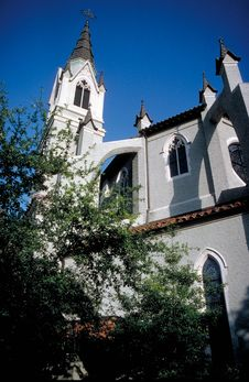Church Tower And Windows Stock Photo