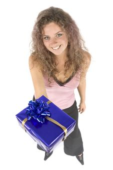 Free Woman With Gift Stock Image - 1115801