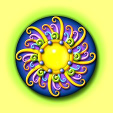 The Sun - Colorful Swirled Illustration