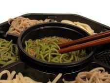 Soba Box And Chopsticks Stock Photos
