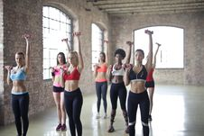 Free Women Having Exercise Using Dumbbells Royalty Free Stock Photography - 111070107