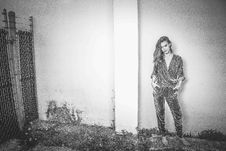 Free Woman In Surplice-neckline Blouse And Pants Outfit Grayscale Photography Stock Photography - 111070122