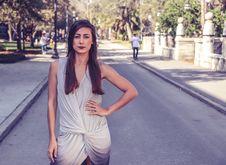 Free Woman Wearing Gray Sleeveless Slit Dress Stock Images - 111070164