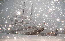 Free White Sailing Ship Docked At Pier Stock Images - 111169954