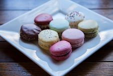 Free Macaroons Served On White Ceramic Plate Royalty Free Stock Photos - 111170148