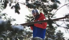 Free Man In Red And Blue Jacket Near Trees Stock Photography - 111170222