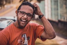 Free Selective Focus Photography Of Man Smiling Putting Hands On Head Stock Image - 111170231