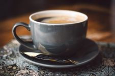 Free Gray Ceramic Cup Of Coffee On Round Gray Saucer Stock Photos - 111217233