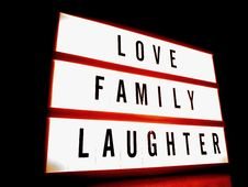 Free White And Red Led Signage With Love Family Laughter Text Royalty Free Stock Image - 111217236