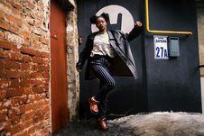 Free Woman Wearing Black Leather Jacket Stock Photography - 111217242