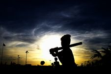 Free Silhouette Of Person Holding Stick Stock Photos - 111217243