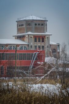 Old Factory Building In The Winter Stock Photos