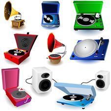 Gramophone Icons Royalty Free Stock Photo