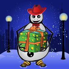 Free Snowman With A Present Stock Image - 11131411