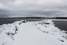 Free Pathway Between Body Of Water Filled With Snow Stock Photos - 111364753