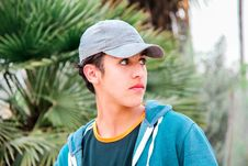 Free Man Wearing Gray Cap And Blue Jacket Stock Images - 111457344