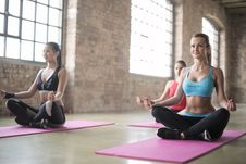 Free There Women In A Yoga Session Royalty Free Stock Photography - 111457417