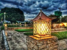 Free Turned On Garden Light Royalty Free Stock Photography - 111457447