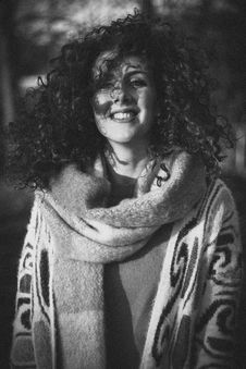 Free Woman Wearing Open Cardigan And Scarf Grayscale Royalty Free Stock Image - 111457486