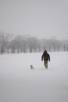 Free Photo Of Man Wearing Black Jacket And Pants Walking On Snow Stock Images - 111545404