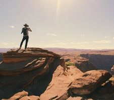 Free Birds Eye-view Of A Man Standing On Grand Canyon Royalty Free Stock Image - 111615106