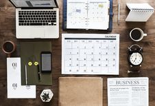Free Laptop, Calendar And Books Stock Images - 111615154