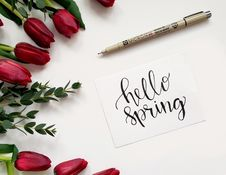 Free Hello Spring Handwritten Paper Royalty Free Stock Photography - 111615237