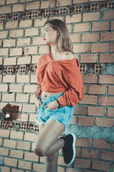 Free Woman Wearing Brown Long-sleeved Blouse And Blue Denim Short Shorts Standing Behind Brown Brick Wall Royalty Free Stock Images - 111615289