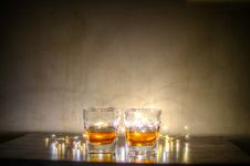 Free Two Clear Glass Shot Glass With String Lights Stock Photo - 111615320