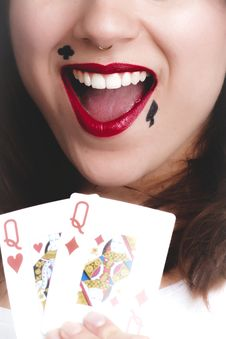 Free Two Queen Of Heart And Diamond Playing Cards Stock Images - 111615394