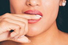 Free Women S Red Lipstick Royalty Free Stock Images - 111615399