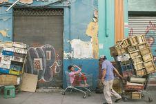 Free Man Wearing Gray Cap And Blue Shirt Holding Shopping Cart Stock Photos - 111685463