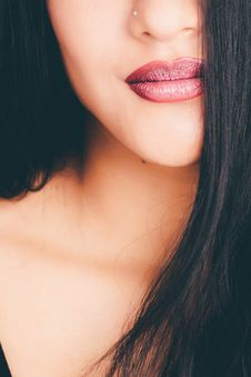 Free Woman Showing Red Lipstick Stock Image - 111685501