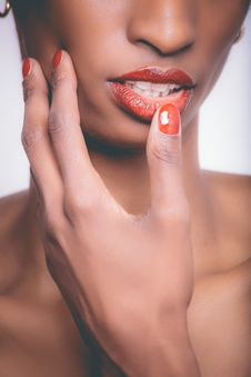 Free Woman With Red Lipstick And Red Manicure Stock Photos - 111823813