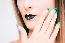 Free Woman With Black Lipstick And Teal Nail Polish Stock Photos - 111823823